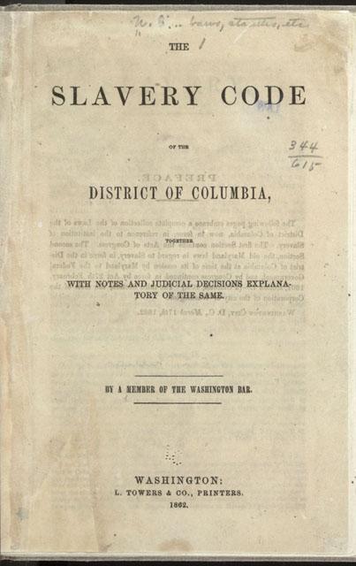 Slavery Codes of DC