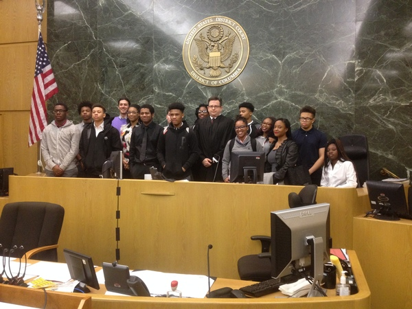 Magistrate Judge Harvey and students