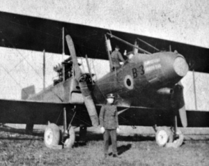 Charles Fahy and his plane during WWI